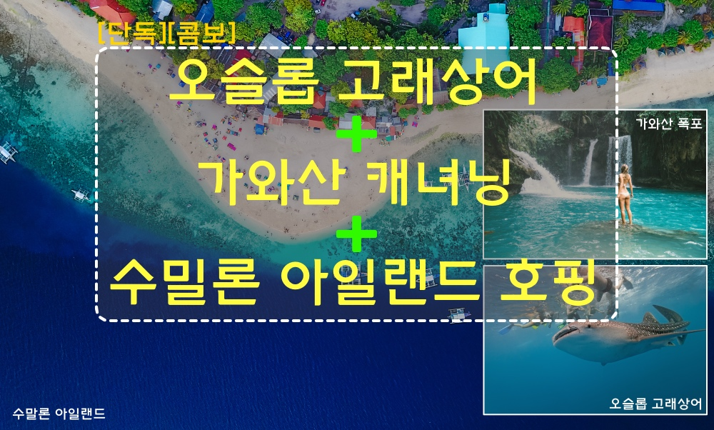 [단독-콤보] 오슬롭 고래상어 + 수밀론 섬 + 카와산 캐녀링